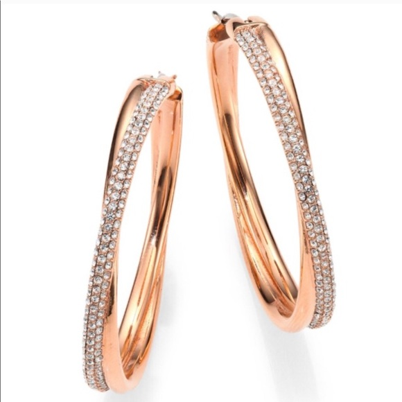 8db5a1bf3 Michael Kors Jewelry | Crystal Pave Crossover Hoop Earrings | Poshmark